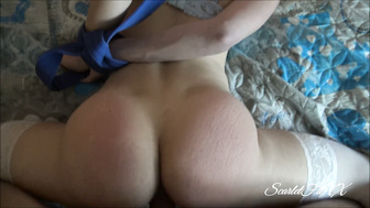 Tied Up And Choking Whore In Stockings Gets abused and Cumshowered !