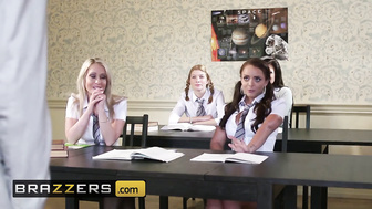 Brazzers - Slutty school girl Liza Del Sierra takes big cock in all 3 holes