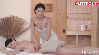 LETSDOEIT - Lesbian Massage Girl Shares A Dildo With Her Client